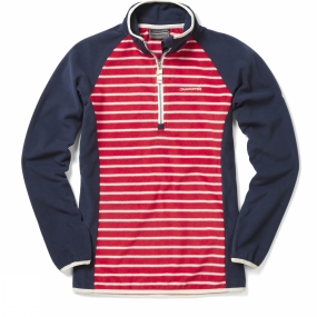 Craghoppers Craghoppers Womens Tille Half Zip Fiesta Red Stripe/Soft Navy