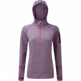 Ronhill Ronhill Womens Momentum Victory Hoodie Elderberry Marl/Hot Coral