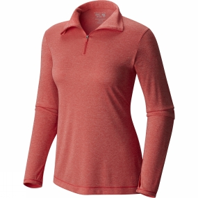 Mountain Hardwear Mountain Hardwear Womens Wicked Printed Long Sleeve Zip T Heather Scarlet Red