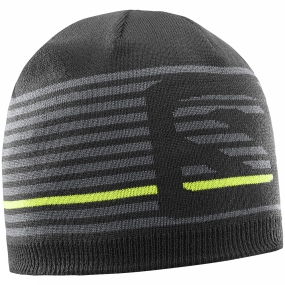 Salomon Salomon Mens Flat Spin Short Beanie Black/Forged Iron/Acid Lime