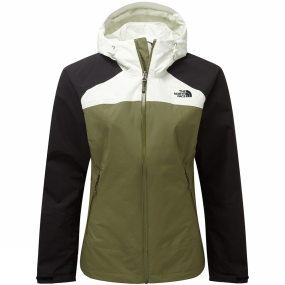 The North Face The North Face Womens Stratos Jacket Burnt Olive Green/TNF Black/ Vaporous Grey