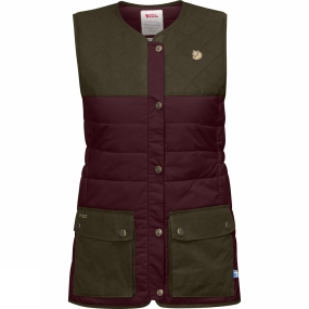 Snow and Rock Fjallraven Womens Sörmland Padded Vest Dark Garnet-Dark Olive