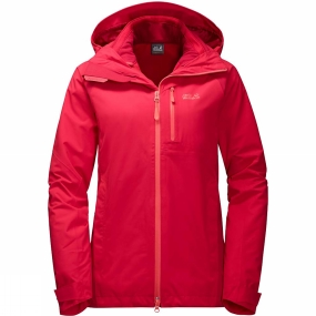 Jack Wolfskin Jack Wolfskin Womens Cascade Pass 3in1 Jacket True Red