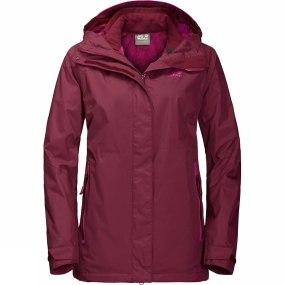 Jack Wolfskin Jack Wolfskin Womens Clearwater Lake 3in1 Jacket Garnet Red