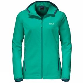Jack Wolfskin Jack Wolfskin Womens Turbulence Softshell Jacket Deep Mint/Midnight Blue