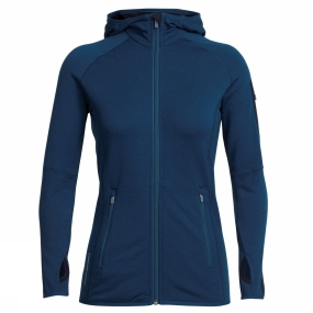 Icebreaker Icebreaker Womens Atom Long Sleeve Zip Hood Largo/ Midnight Navy
