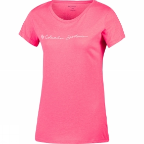 Columbia Womens CSC Script Logo Short Sleeve Tee Red Camellia