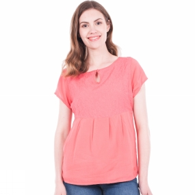 Brakeburn Brakeburn Womens Embroidered Panel Top Coral