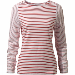 Craghoppers Craghoppers Womens Nosilife Erin Long Sleeved Top Fiesta Red Combo