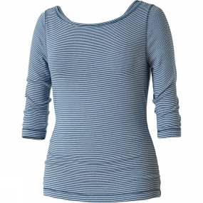 Royal Robbins Womens Kickback To Front Stripe 3/4 Sleeve Top