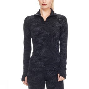 Icebreaker Icebreaker Womens Vertex Long Sleeve Half Zip Top Black/ Jet Heather