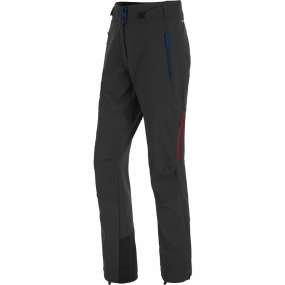Salewa The Womens Ortles DST Regular Pants from Salewa has ventilation zips at the sides as well as ankle zips. Their ergonomic pre-shaped knees and four-way stretch performance make them well suited to dynamic activities such as ski touring, where flexibility is required. The cuffs are reinforced to prevent damage from ski edges or crampons and they feature internal hooks and loops for attachment to footwear or ski boots.