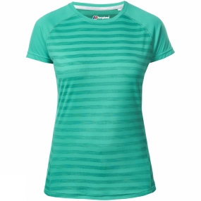 Berghaus Berghaus Womens Stripe Short Sleeve Crew Baselayer Deep Green Stripe