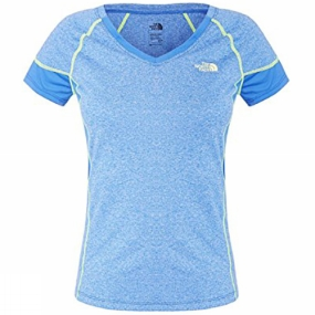 The North Face Womens Reactor V-Neck Short Sleeve Tee Blue