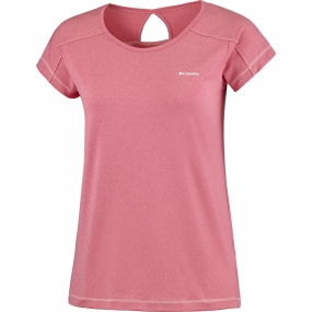 Columbia Womens Peak to Point Short Sleeve Shirt Red Camellia