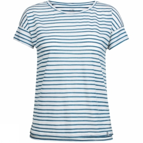 Runners Need Icebreaker Women Aria SS Scoop Pulled Lines T-Shirt Pulled Lines Snow/Prussian Blue