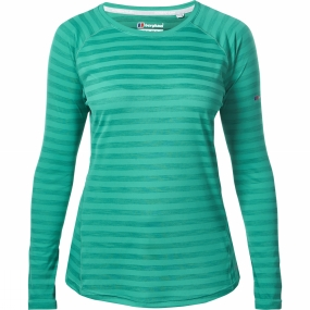 Berghaus Berghaus Womens Long Sleeve Striped Technical T-Shirt Deep Green Stripe