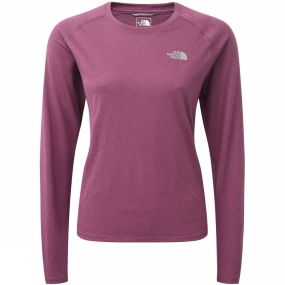 The North Face The North Face Womens Reaxion Amp Long Sleeve Crew Amaranth Purple Heather