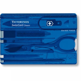 Victorinox Fantastic credit card sized tool with loads of handy features. All the tools slide into the transparent case. Thin enough to keep in your pocket or wallet. With nail file, scissors, small knife, tweezers, tooth pick, pen and ruler.