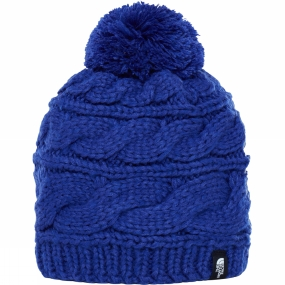 The North Face Womens Triple Cable Pom Beanie Inaguration Blue