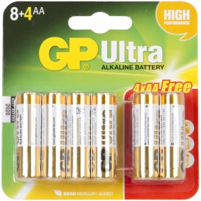 GP Batteries Ultra Alkaline AA Battery x 8 (+4 Free) No Colour