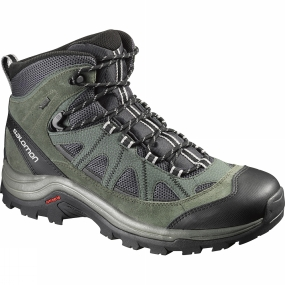 Salomon Salomon Mens Authentic Leather GTX Boot Asphalt / Night Forest