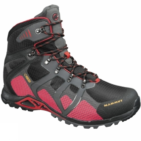 Mammut Pure comfort! The generously tailored fit, softness and light weight of the Mammut Mens Comfort High Gore-Tex Surround Boots, create a completely new running sensation. All-round ventilation thanks to the newly developed GORE-TEX SURROUND technology. Additional ventilation is provided by an air-permeable layer between the wedge and insole, which also offers comfortable cushioning. The lightweight hiking boot also features board lasting; the patented Rolling Concept; a Hybrid Shell that provides shape and stability; an IP EVA wedge with excellent cushioning and integrated arch support; and a protective liquid rubber toe cap. With its Sonar technology, the new Sonar comfort sole by gripex, which features multi-directional lugs and two different rubber hardnesses, offers grip on any terrain.