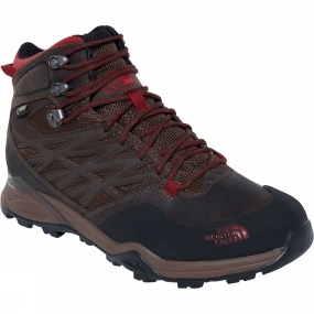The North Face Mens Hedgehog Hike Mid GTX Boot Demitasse Brown / Rudy Red