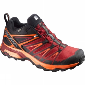Salomon Salomon Mens X-Ultra 3 GTX Shoe Black/Red Dahlia/Scarlet Ibis
