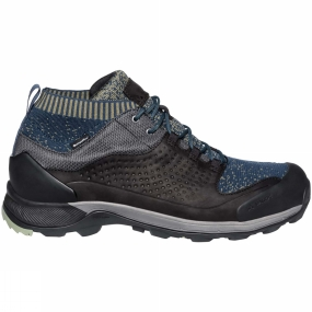 Vaude The Mens TRK Skarvan STX Boot from Vaude have a seamless sock-like construction (50% recycled material) ensures a high degree of comfort and an optimal fit throughout the entire shaft. The durable leather upper ensures a perfect fit and optimal support. This high quality Terracare leather comes from Germany and is manufactured in accordance with the most stringent environmental standards. Thanks to the environmentally friendly Sympatex membrane (made from 100% recycled materials and completely PFC-free), this low-cut hiking shoe is absolutely waterproof and breathable. The stiff, high traction outsole (V-Flow 6) provides sure footing and best support on unsecured, rough terrain.