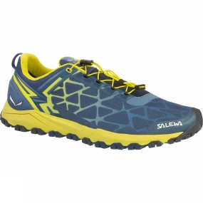 Salewa The Mens Multi Track Shoe is a low-cut, lightweight breathable mountain training shoe with a Michelin outsole that covers a wide range of activities: speed hiking, mountain training or other high-octane mountain sports.Its hybrid design meets the demands of three different sports: hiking, running and mountain biking. Perfectly at home on rough and uneven terrain such as rocky trails, mud or grass, the Multi Track offers the stability of a hiking shoe, the cushioning of a running shoe, and MTB flat pedal-compatibility - thanks to the specially designed tread pattern under the forefoot. Its hardwearing and sure-grip Multi Track outsole was developed in partnership with Michelin.The Multi Track combines a weight-saving, minimalist upper with a cushioning midsole with TPU injected inserts. It benefits from Salewa