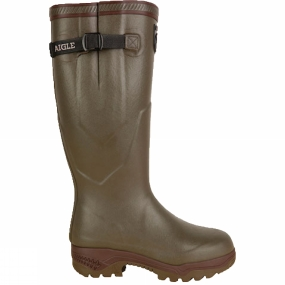 Aigle The Mens Parcours 2 ISO welly from Aigle are anti-fatigue rubber boots that are designed with comfort in mind so you can walk for longer no matter the weather. The neoprene linings will keep your feet toasty and warm down to -20�C and the rubber soles have dampening cushions in the heel offering you shock absorption and helps propel you forward, helping you use less energy in the process. With the adjustable gusset, you can adjust them to your calf size so they stay nice and snug.