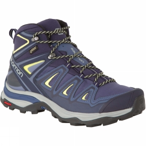 Salomon Salomon Womens X-Ultra Mid 3 GTX Boot Crown Blue/Evening Blue/Sunny Lime