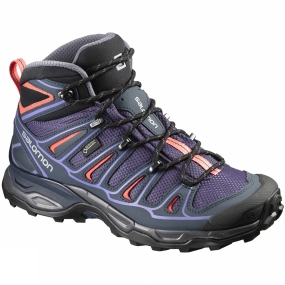 Salomon Salomon Womens X Ultra Mid 2 GTX Boot Nightshade Grey/Deep Blue/Coral Punch