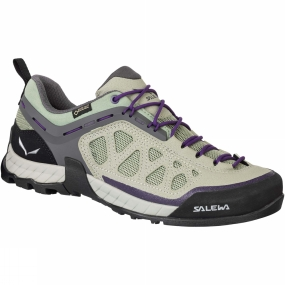 Salewa The Womens Firetail 3 GTX Shoe from Salewa is a low-cut high tech approach shoe with a modern design inspired by action sports, with a Gore-Tex Extended Comfort lining to provide waterproof and breathable protection. Designed for technical rocky paths, the Firetail 3 GTX offers excellent climbing performance due to its Vibram Reptail sticky sole with Megagrip compound - a high-performance, sticky but durable rubber compound also used in rock shoes that gives 25% more traction. Patented technologies ensure a very precise fit: Climbing Lacing extends right to the toe for accurate adjustment; the 3F System provides firm ankle and heel support.