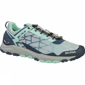 Salewa The Womens Multi Track Shoe is a low-cut, lightweight breathable mountain training shoe with a Michelin outsole that covers a wide range of activities: speed hiking, mountain training or other high-octane mountain sports.Its hybrid design meets the demands of three different sports: hiking, running and mountain biking. Perfectly at home on rough and uneven terrain such as rocky trails, mud or grass, the Multi Track offers the stability of a hiking shoe, the cushioning of a running shoe, and MTB flat pedal-compatibility - thanks to the specially designed tread pattern under the forefoot.Its hardwearing and sure-grip Multi Track outsole was developed in partnership with Michelin.The Multi Track combines a weight-saving, minimalist upper with a cushioning midsole with TPU injected inserts. It benefits from Salewa