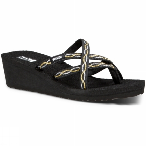 Teva Teva Womens Mush Mandalyn Wedge Ola 2 Flip Flop Knot Metallic