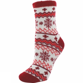 Yaktrax Womens Cabin Sock Cosy Flocon Rouge