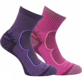regatta-womens-active-lifestyle-sock-pack-of-2-blackberry-vivid-viola