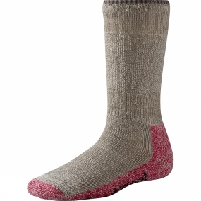 SmartWool SmartWool Womens Mountaineering Extra Heavy Crew Sock Taupe / Bright Pink