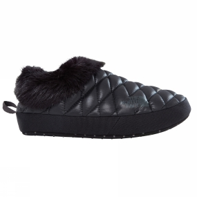 The North Face Womens Thermoball Tent Mule Faux Fur IV Shiny TNF Black