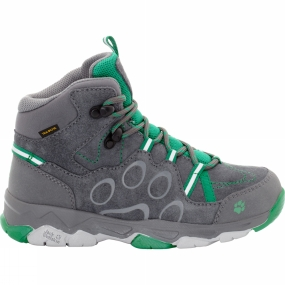 Jack Wolfskin Kids MTN Attack 2 CL Texapore Mid Boot Tarmac Grey/Leaf Green
