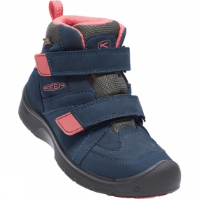 Keen Youth Hikeport Mid Strap Waterproof Boot Dress Blues/Sugar Coral