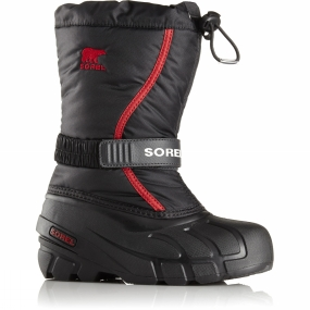 Sorel Youth Flurry Boot Black / Bright Red