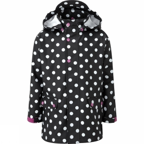 Kozi Kidz Kids Regn Kappa Rain Coat Black Dots
