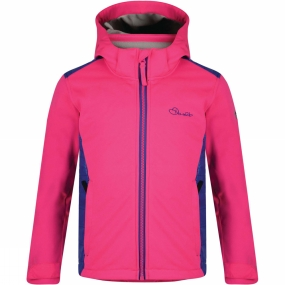 Dare 2 b Dare 2 b Kids Unravelled Softshell Jacket Cyber Pink/Clematis Blue