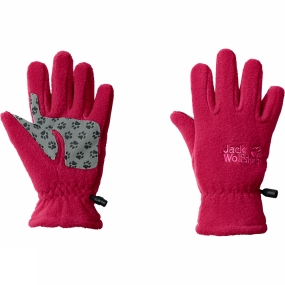 Jack Wolfskin Kids Fleece Gloves Azalea Red