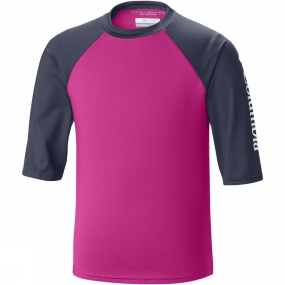 Columbia Youths Mini Breaker II Short Sleeve Sunguard Top Age 14+ Haute Pink/Nocturnal/White
