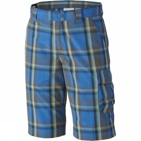 Columbia Boys Silver Ridge Plaid Shorts Age 14+ Super Blue Plaid