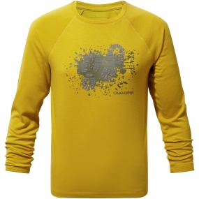 Craghoppers Craghoppers Boys Mimir Long Sleeve Graphic Tee Desert Yellow